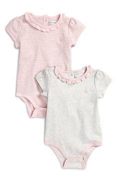 Ralph Lauren Short Sleeve Bodysuits (2-Pack) (Baby Girls) available at #Nordstrom