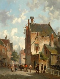 Adrianus Eversen (Amsterdam Delft) A Dutch street scene - Dutch Art Gallery Simonis and Buunk Ede, Netherlands. Classic Paintings, Great Paintings, Old Paintings, Landscape Paintings, La Haye, Baroque Art, Medieval Life, Dutch Painters, City Landscape