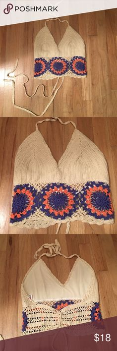Festival crochet top Festival crochet top can be worn as bikini as well. Lace up back gives room for adjusting, bust part is lined. New. Never worn. Tops Crop Tops
