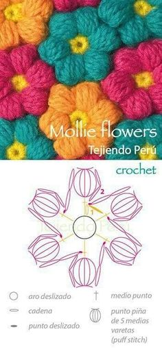 Diagrama para tejer mollie flowers a crochet :) Mollie flowers! Diagrama para tejer mollie flowers a crochet :) Crochet Diy, Crochet Amigurumi, Love Crochet, Irish Crochet, Chunky Crochet, Beautiful Crochet, Crochet Ideas, Crochet Flower Patterns, Crochet Stitches Patterns