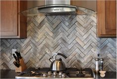 What a difference one change makes, Tricia and Erin reveal this beautiful herringbone wood tile backsplash. Backsplash Herringbone, Herringbone Tile Pattern, Beadboard Backsplash, Kitchen Backsplash, Backsplash Design, Backsplash Ideas, Tile Ideas, Backsplash Marble, Wood Like Tile