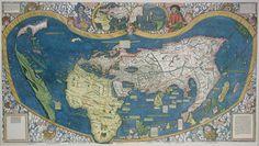WORLD PLANISPHERE EUROPE AFRICA AUSTRALA ARCTIC ANTARCTICA Lithograph 1892 map
