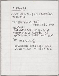 <p>Jean-Michel Basquiat (American, 1960–1988). <i>Untitled Notebook Page</i>, circa 1987. Wax crayon on ruled notebook paper, 9<sup>5</sup>⁄<sub>8</sub> x 7<sup>5</sup>⁄<sub>8</sub> in. (24.5 x 19.4 cm). Collection of Larry Warsh. Copyright © Estate of Jean-Michel Basquiat, all rights reserved. Licensed by Artestar, New York. Photo: Sarah DeSantis, Brooklyn Museum</p>
