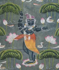 Shrinath Ji Kamal Talai | Pichwai Painting(2) 0015 Krishna Painting, Krishna Art, Shree Krishna, Pichwai Paintings, Indian Art Paintings, Painting Of Girl, Silk Painting, Watercolor Pencil Art, Rajasthani Art