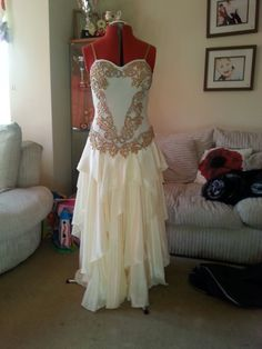 Ladies Cream Satin Ballroom Dress Size 10