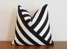 Decorative Pillow Cover- Black and White- Stripes- 18x18""