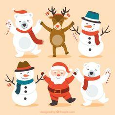Personajes lindos de navidad felices Vector Gratis