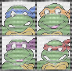 Ninja Turtles to knit and crochet – free patterns – Grandmother's Pattern Book Plastic Canvas Tissue Boxes, Plastic Canvas Crafts, Plastic Canvas Patterns, Knitting Charts, Knitting Patterns, Crochet Patterns, Owl Patterns, C2c Crochet, Crochet Chart