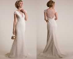"""Amy Kuschel """"Starr"""" gown new to Lana Addison Bridal! We adore the romantic lace with the sexy plunging V illusion and subtle trumpet silhouette. Champagne Wedding Colors, Romantic Lace, Trumpet, Illusion, Amy, Silhouette, Gowns, Bridal, Wedding Dresses"""