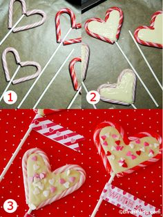Bird's Party Blog: Valentine's Heart Lollipops using Candy Canes