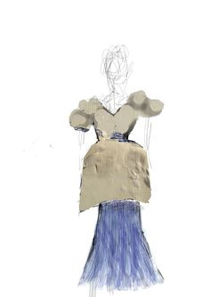 "Costume Design of the character of Eurydice during the scenes at her wedding.  Top section is designed with the ides that it would be placed on top of the ""Beach"" costume to create a new look for her wedding."