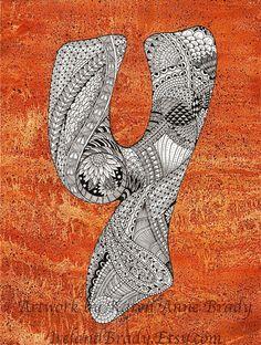 ACEO+Alphabet+Letter+Y+zentangle+doodle+initial+by+IrelandBrady,+$1.00