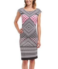 Black & Pink Geometric Cap Sleeve Sheath Dress | zulily