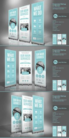 Business Roll-Up Banner. Modern and clean design for banner/rollup. Perfect for PR agency or other business promotion. All elements are editable. Rollup Design, Rollup Banner Design, Bunting Design, Web Design, Flyer Design, Layout Design, Print Design, Tradeshow Banner Design, Exhibition Banners
