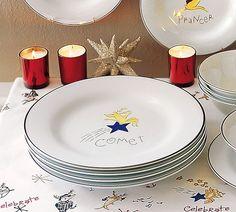 Reindeer Dessert plates | Pottery Barn & Reindeer Dinner Plates Set of 4 Set 1 (Dasher Dancer Prancer ...