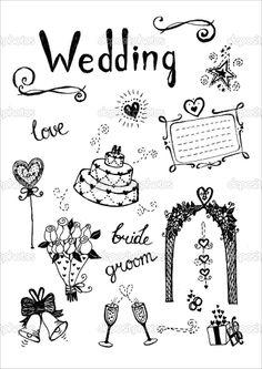Doodle wedding elements. — Stock Illustration #6867763