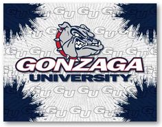 Gonzaga Bulldogs D1 Printed Logo Canvas. Visit SportsFansPlus.com for Details.