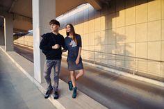 "urban couple #3 = folk head dress + sea colour shoes + unisex ""staff"" sweatshirt"