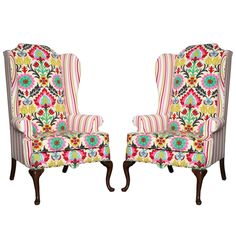 Pair of American Drexel Queen Anne Wingback Chairs c.1960 | From a unique collection of antique and modern wingback chairs at https://www.1stdibs.com/furniture/seating/wingback-chairs/