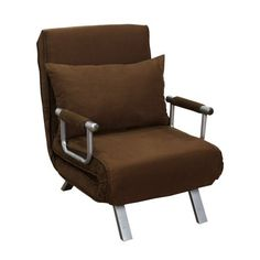 HomCom 26 Convertible Single Sleeper Chair Bed - Brown - Walmart.com