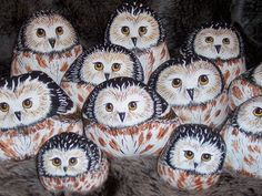 Shows three steps to turn a rock into an owl