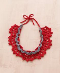 Lace Crochet Necklace: http://www.lionbrand.com/patterns/L10200.html?noImages=&utm;_source=patterns_20120117_Jan17&utm;_medium=Emails&utm;_campaign=NewPatternsAlert&utm;_content=P-CrochetLaceCrochetNecklace