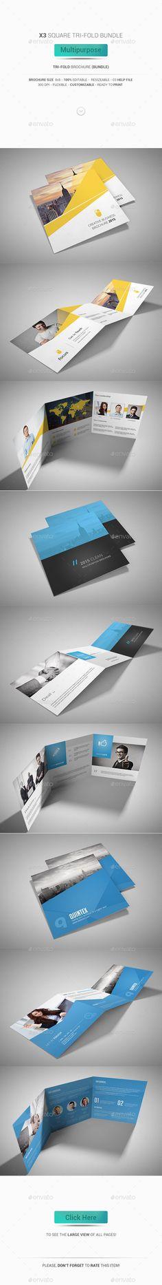 Square Tri-Fold Brochure Bundle - Multipurpose Template #design Buy Now: http://graphicriver.net/item/square-trifold-brochure-bundle-multipurpose/12860616?ref=ksioks