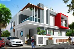 86 Architectural Design Pictures for Residential Buildings - Engineering Basic Residential Building Design, Home Building Design, House Outside Design, House Front Design, Duplex House Design, Modern House Design, Dream House Exterior, Dream House Plans, Morden House
