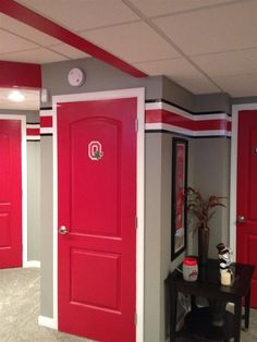 It's Buckeye Land Ohio State Rooms, Ohio State Decor, Ohio State Crafts, Buckeyes Football, Ohio State Football, Ohio State Buckeyes, Buckeye Bars, Basement Remodeling, Basement Ideas