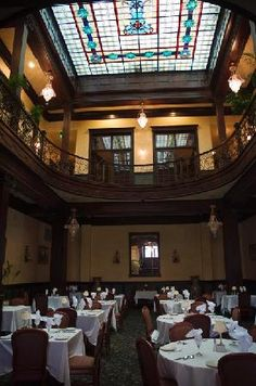 The dining area and upstairs gallery in the Grand Geiser Hotel in Baker City. Magnificent!