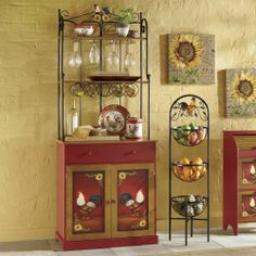 Red Rooster Bakers Rack From Through The Country Door Mexican Kitchen Decor