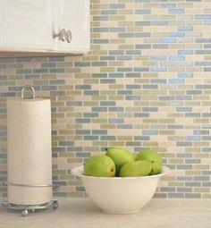 Blue Tile Backsplash Kitchen smoke glass subway tile | white shaker cabinets, shaker cabinets