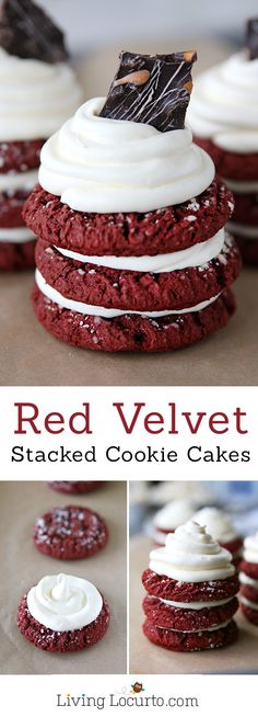 How To Make Red Velvet Stacked Cookie Cakes A Simple Recipe That Makes A Big Impression. Any individual Who Loves Red Velvet Cake With Cream Cheese Frosting Will Love This Fun Party Idea Dessert Party, Köstliche Desserts, Delicious Desserts, Dessert Recipes, Party Recipes, Red Velvet Cookie Recipe, Red Velvet Cookies, Velvet Cupcakes, Cake Mix Cookies