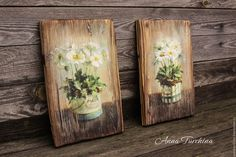 """Купить Пара интерьерных панно """"Белые цветы-2"""" - коричневый, панно, панно…"""