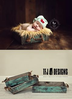 Turquoise Vintage Style Trays - Rope Handles - Newborn Toddler Prop - NEW, $20.00 by TFJ Designs