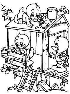 Building A Tree House coloring page for kids and adults from Cartoon Characters coloring pages, Donald Duck coloring pages Family Coloring Pages, House Colouring Pages, Quote Coloring Pages, Cartoon Coloring Pages, Disney Coloring Pages, Free Printable Coloring Pages, Coloring Sheets, Coloring Books, Disney Ducktales