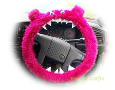"Cute+Hot+Pink+faux+fur+Monster+fuzzy+steering+wheel+cover+! Handmade+from+Barbie+pink+faux+fur+fabric Short+Pile+Faux+fur+fabric,+Elasticated,+made+to+fit+a+14.5""+(37cm)+steering+wheel,+however+if+a+different+size+is+required+please+ask,+Googly+wobbly+eyes,+felt+teeth+and+fuzzy+ears Matc..."