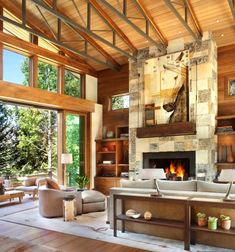 This captivating and expansive three-story modern mountain home with rustic nuances has been designed by Suman Architects, located in Vail, Colorado. Modern Rustic Homes, Rustic Home Design, Rustic Contemporary, Contemporary Interior, Modern Farmhouse, Colorado Mountain Homes, Colorado Mountains, Vail Colorado, Vail Mountain