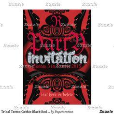 Tribal Tattoo Gothic Black Red Invitation Adult Halloween Invitations, Adult Halloween Party, Gothic Halloween, Invitation Text, Invitation Design, Party Invitations, Tribal Tattoos, Design Art, Red