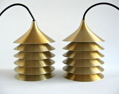 Danish Modern Pair Aluminum Pendant Lamps / Bent Boysen Duett for Ikea / Fog & Morup / Louis Poulsen / Mid Century Modern Lighting. $225.00, via Etsy.