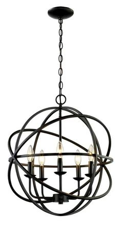"""View the Trans Globe Lighting 70655 ROB Rubbed Oil Bronze 5 Light 23"""" Wide Chandelier at Build.com."""