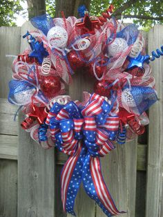Patriotic Deco Mesh Wreath / 4th of July by BabesnBowsBoutique