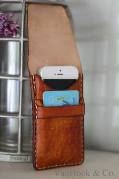 Leather Cell Phone Wallet // Hand Stitched by VanHookandCo on Etsy