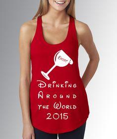 219e9a811df0c Disney World Epcot Food   Wine Festival   Drinking Around the World   Red Tank  Top   Disney Running