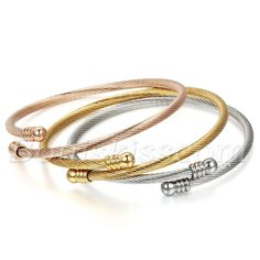 3pcs Women's Stainless Steel Cable Wire Twisted Cuff Bangle Bracelet Adjustable…