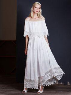 White Maxi Dresses Lace Edge Off Shoulder Half-Sleeve High Low Full Skirt Dresses
