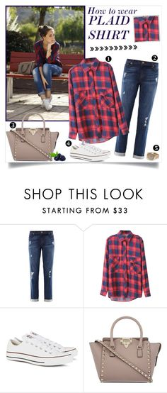 """How to wear: Plaid Shirt"" by annabu ❤ liked on Polyvore featuring J Brand, Converse, Polaroid, Valentino, converse, valentino, plaid, boyfriendjeans and watches"