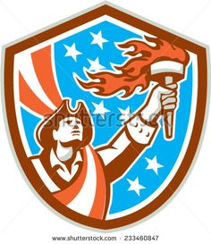 Illustration of an American Patriot holding a flaming torch looking up set inside shield crest with USA stars and stripes flag in the background done in retro style.