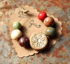 Handmade ceramic snowflake / peace bead. Double sided handmade ceramic beads. gaea.cc