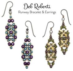 Runway Bracelet & Earrings beaded pattern tutorial by Deb